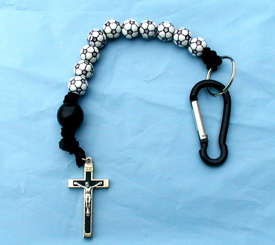 pin soccer rosary sports made with ball beads available in