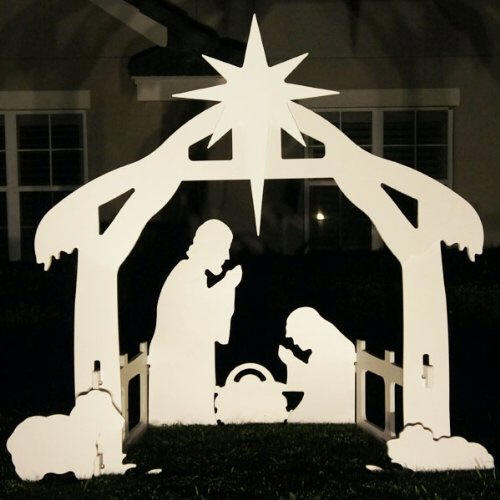 Lifetime outdoor nativity marine grade white pvc silhouette for 30 lighted nativity christmas window silhouette decoration