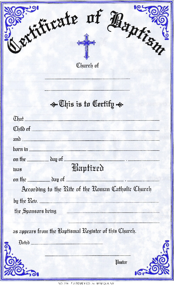 Good Christening Certificate Template